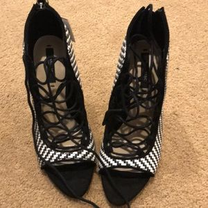 Black and white lace up Zara heels